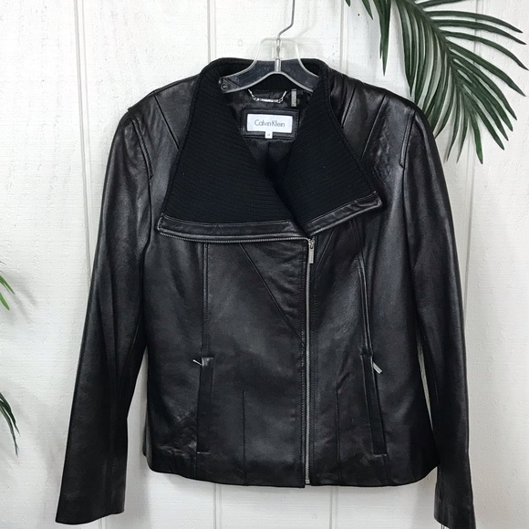 Jackets & Blazers - Calvin Klein Black Leather Coat size Large. NWT